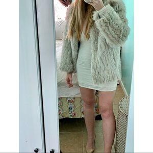 Luxurious authentic blue fox fur coat